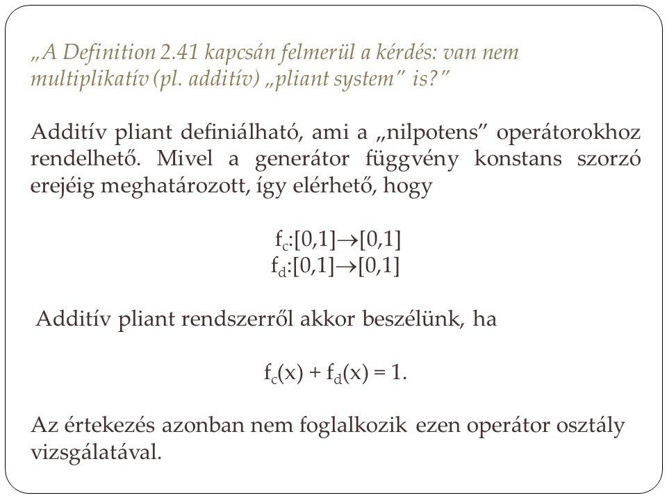 """""""A Definition 2.41 kapcsán felmerül a kérdés: van nem multiplikatív (pl. additív) """"pliant system"""" is?"""" Additív pliant definiálható, ami a """"nilpotens"""""""