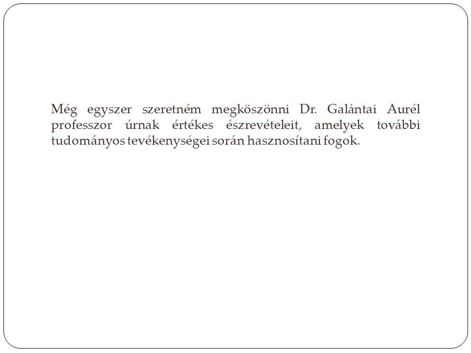 Még egyszer szeretném megköszönni Dr. Galántai Aurél professzor úrnak értékes észrevételeit, amelyek további tudományos tevékenységei során hasznosíta