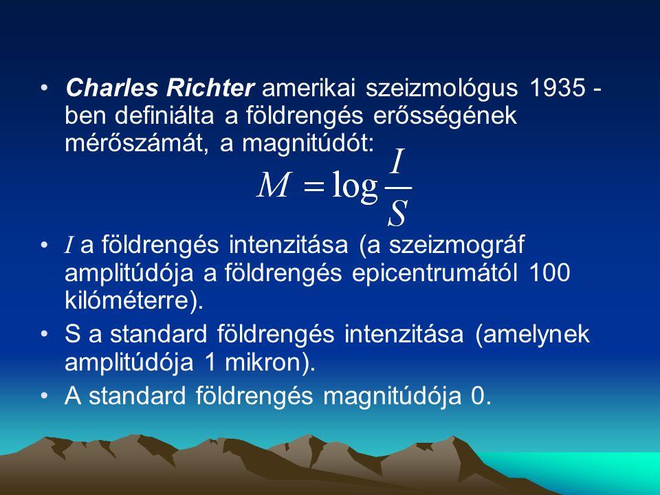 Richter- skála magnitúdóa rengés erejea pusztítás mértéke <2,0mikrorengéscsak műszerekkel érzékelhető 2,0 ‑ 2,9 rendkívül gyengea legtöbb ember még nem érzékeli 3,0 ‑ 3,9 nagyon gyengeáltalában érzékelhető, károkat még nem okoz 4,0 ‑ 4,9 gyengea csillárok kilengenek, morajlás hallatszik, károk csak ritkán keletkeznek 5,0 ‑ 5,9 közepesa szerkezetileg gyenge épületekben komoly károk is keletkezhetnek 6,0 ‑ 6,9 erőserősebb épületek is megrongálódnak az epicentrumtól 50 ‑ 80 km távolságban is 7,0 ‑ 7,9 igen erőssúlyos károk: házak és a hidak összeomlása, utak, vasúti sínek deformációja 8,0 ‑ 8,9 nagyon erőssúlyos károk több száz kilométeres körzetben, többméteres lezökkenések, hegyomlások 9,0 ‑ 9,9 rendkívüli erejű rengésrendkívüli pusztítás, megváltozik a táj >10globális katasztrófaeddig még nem tapasztalt rengés