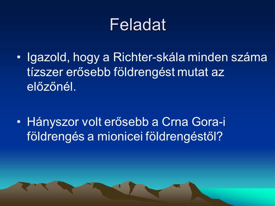 Feladat Igazold, hogy a Richter-skála minden száma tízszer erősebb földrengést mutat az előzőnél. Hányszor volt erősebb a Crna Gora-i földrengés a mio