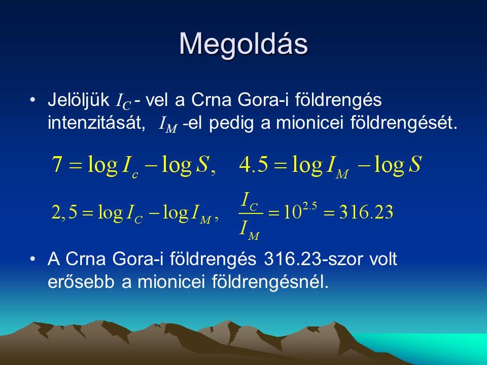 Megoldás Jelöljük I C - vel a Crna Gora-i földrengés intenzitását, I M - el pedig a mionicei földrengését. A Crna Gora-i földrengés 316.23-szor volt e