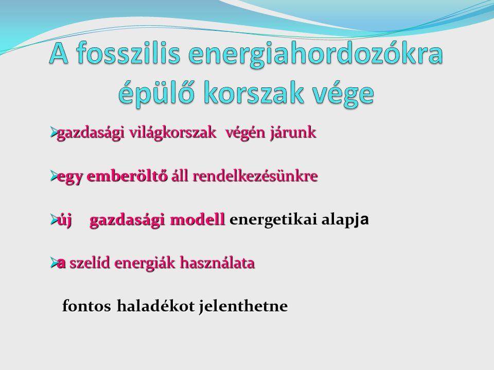  gazdasági világkorszak végén járunk  egy emberöltő áll rendelkezésünkre  új gazdasági modell  új gazdasági modell energetikai alap ja  a szelíd energiák használata fontos haladékot jelenthetne