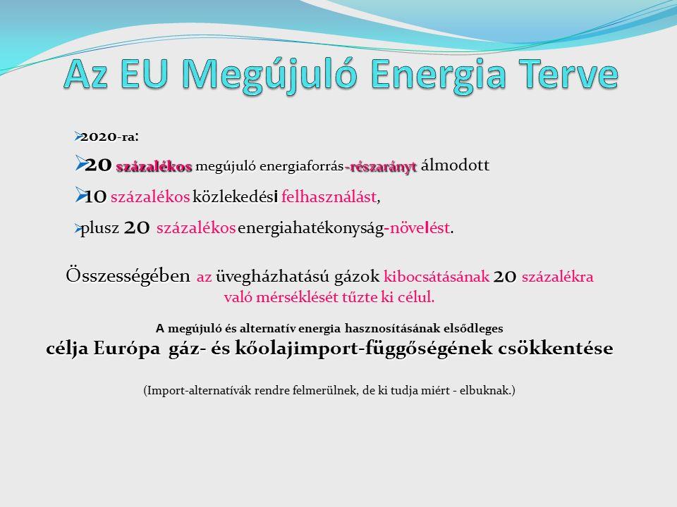 2020  2020 -ra :  20 százalékos megújuló energiaforrás-részarányt  20 százalékos megújuló energiaforrás-részarányt álmodott  10 közlekedés i  10 százalékos közlekedés i felhasználást,  plusz 20 százalékos energiahatékonyság-növe l ést.