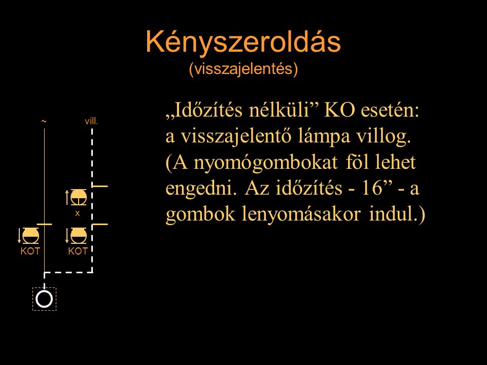 """Kényszeroldás (visszajelentés) """"Időzítés nélküli"""" KO esetén: a visszajelentő lámpa villog. (A nyomógombokat föl lehet engedni. Az időzítés - 16"""" - a g"""