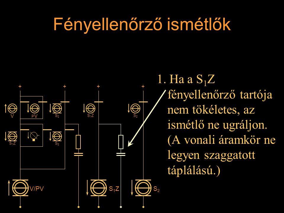 Fényellenőrző ismétlők 1. Ha a S 1 Z fényellenőrző tartója nem tökéletes, az ismétlő ne ugráljon. (A vonali áramkör ne legyen szaggatott táplálású.) R