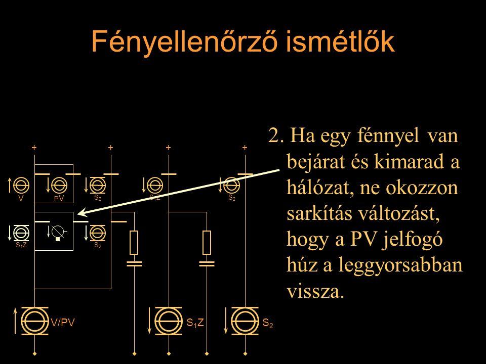Fényellenőrző ismétlők 2. Ha egy fénnyel van bejárat és kimarad a hálózat, ne okozzon sarkítás változást, hogy a PV jelfogó húz a leggyorsabban vissza