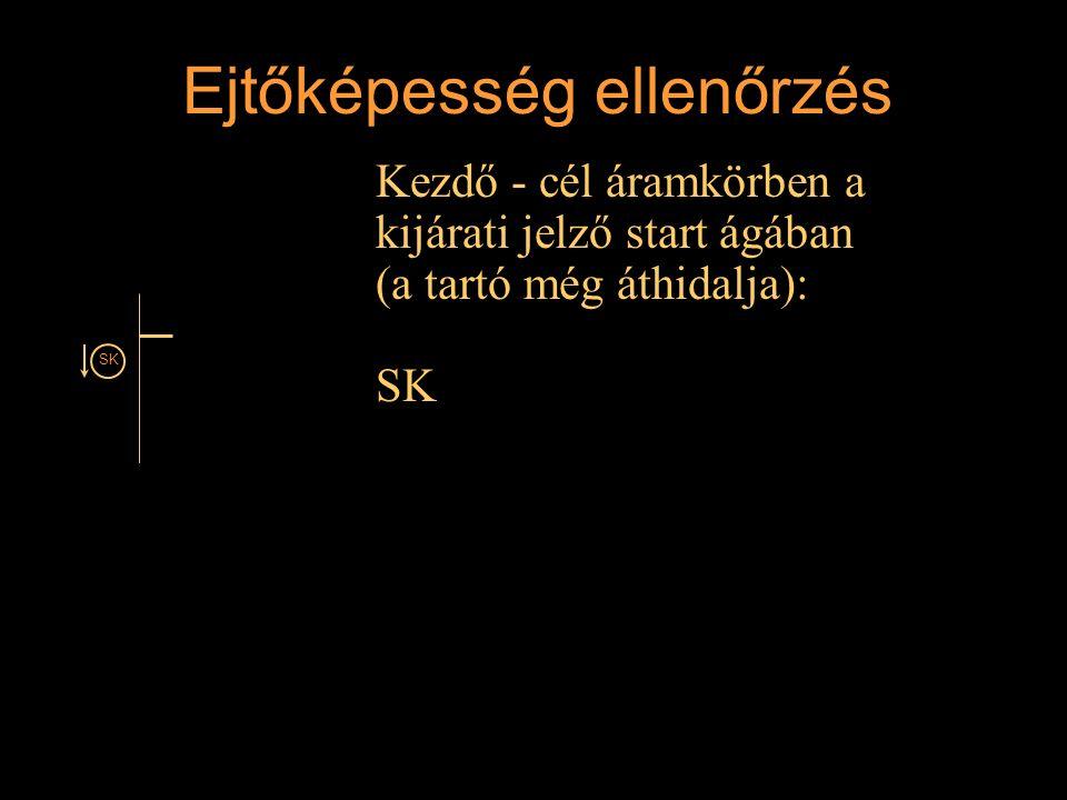 Ejtőképesség ellenőrzés Kezdő - cél áramkörben a kijárati jelző start ágában (a tartó még áthidalja): SK Rétlaki Győző: D-55 állomás_E SK