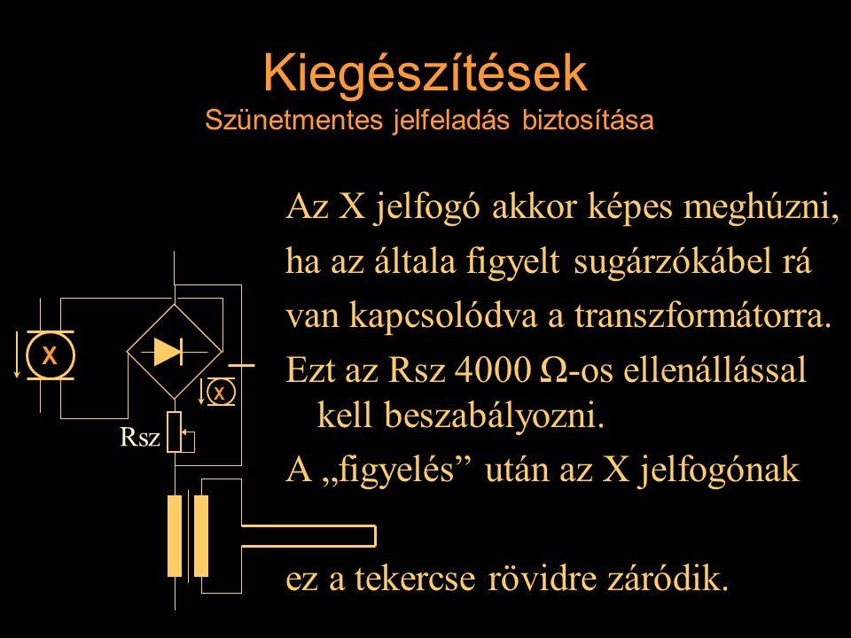 Kiegészítések Szünetmentes jelfeladás biztosítása Az X jelfogó akkor képes meghúzni, ha az általa figyelt sugárzókábel rá van kapcsolódva a transzform
