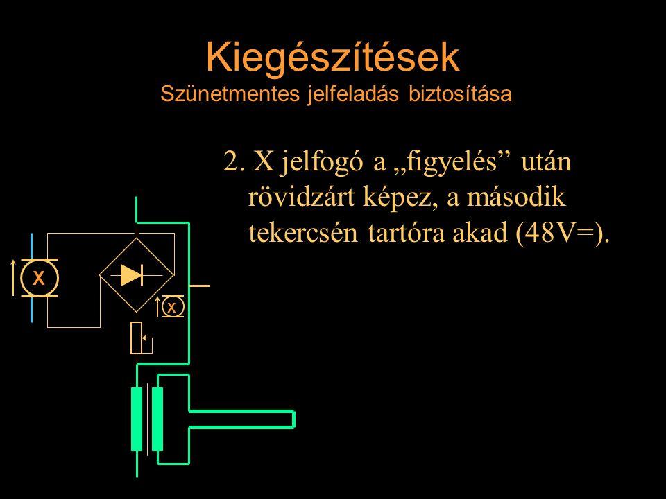 """Kiegészítések Szünetmentes jelfeladás biztosítása 2. X jelfogó a """"figyelés"""" után rövidzárt képez, a második tekercsén tartóra akad (48V=). Rétlaki Győ"""