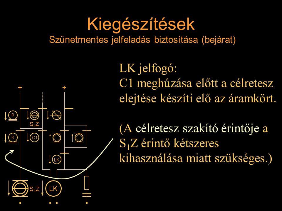 Kiegészítések Szünetmentes jelfeladás biztosítása (bejárat) LK jelfogó: C1 meghúzása előtt a célretesz elejtése készíti elő az áramkört. (A célretesz