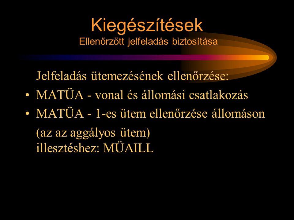 Kiegészítések Ellenőrzött jelfeladás biztosítása Jelfeladás ütemezésének ellenőrzése: MATÜA - vonal és állomási csatlakozás MATÜA - 1-es ütem ellenőrz