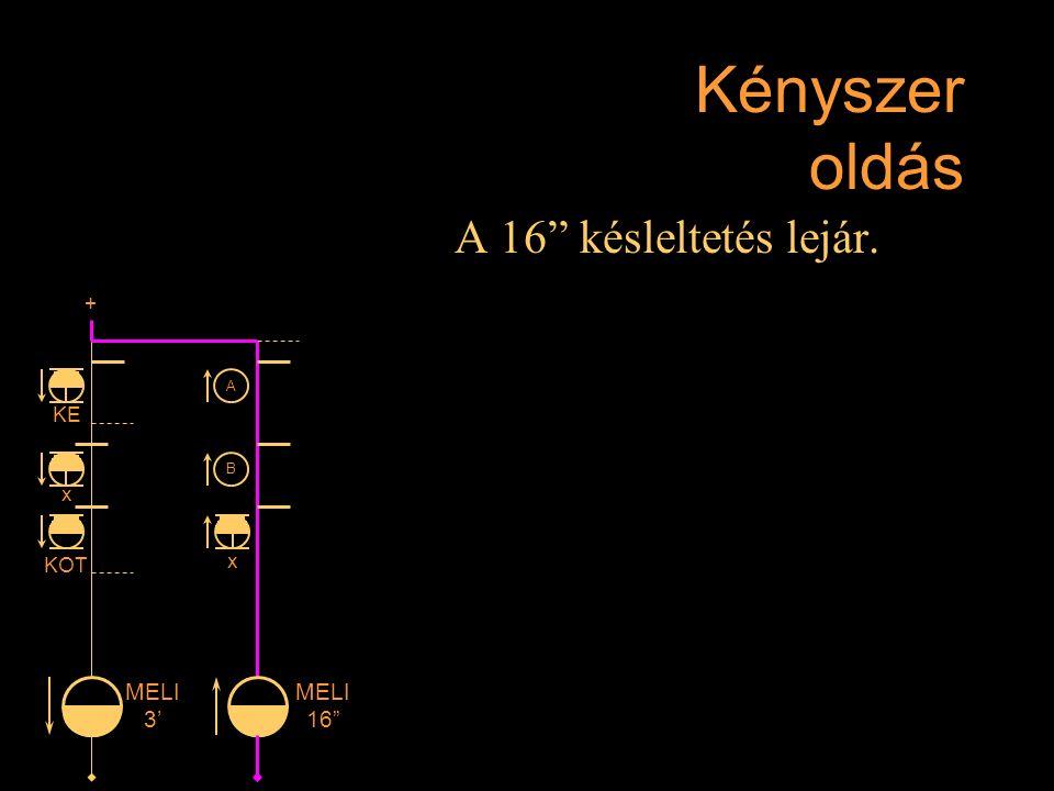 """Kényszer oldás A 16"""" késleltetés lejár. Rétlaki Győző: D-55 állomás_E + KE x KOT MELI 3' MELI 16"""" x A B"""