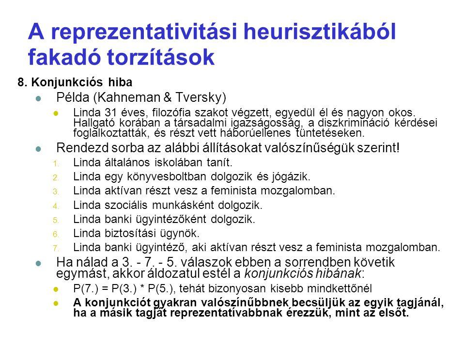 A reprezentativitási heurisztikából fakadó torzítások 8. Konjunkciós hiba Példa (Kahneman & Tversky) Linda 31 éves, filozófia szakot végzett, egyedül