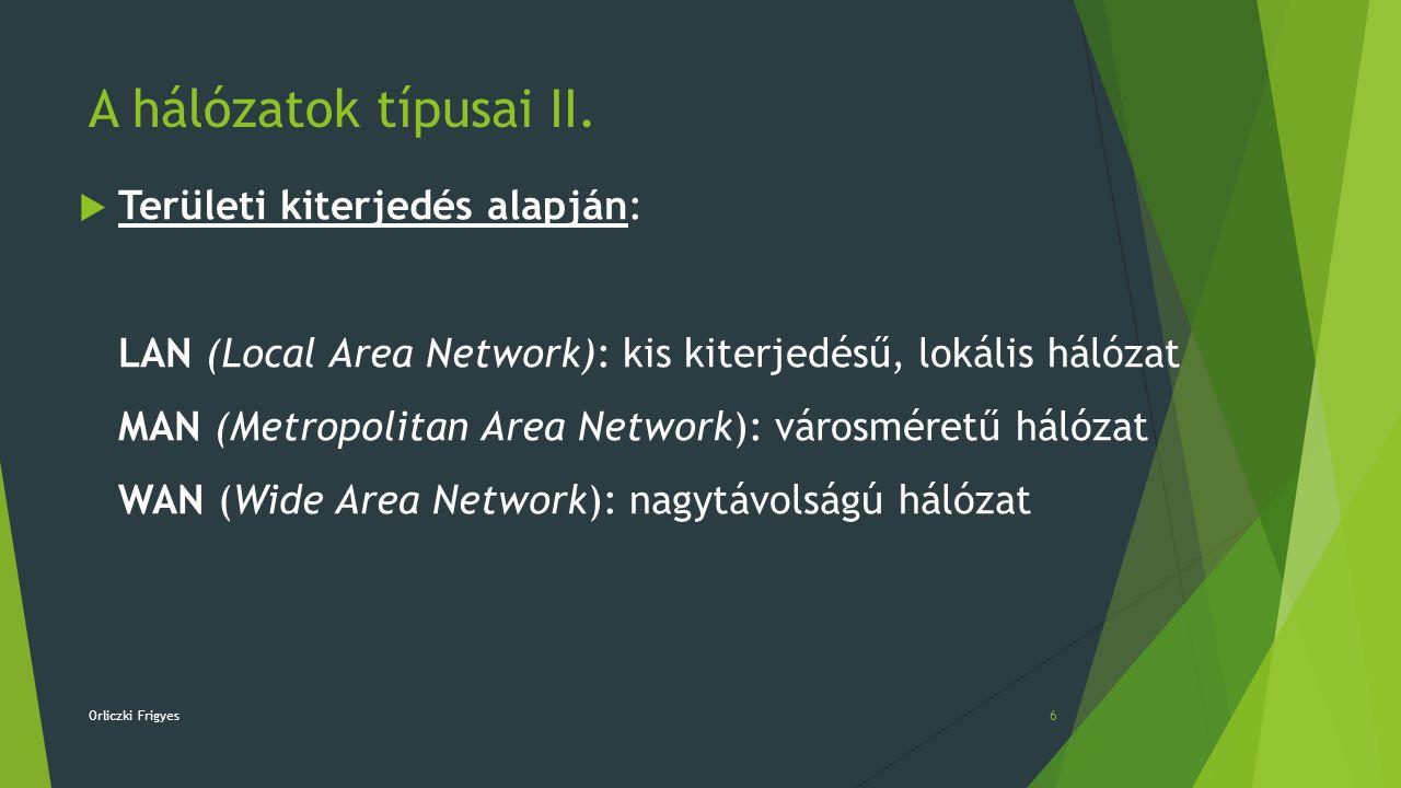 A hálózatok típusai II.