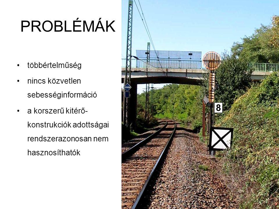 Tarnai: Vasúti irányító és komm. rendszerek I. 25 PROBLÉMÁK többértelműség nincs közvetlen sebességinformáció a korszerű kitérő- konstrukciók adottság