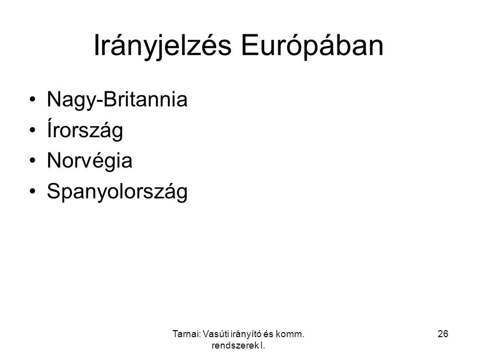 Tarnai: Vasúti irányító és komm. rendszerek I. 26 Irányjelzés Európában Nagy-Britannia Írország Norvégia Spanyolország