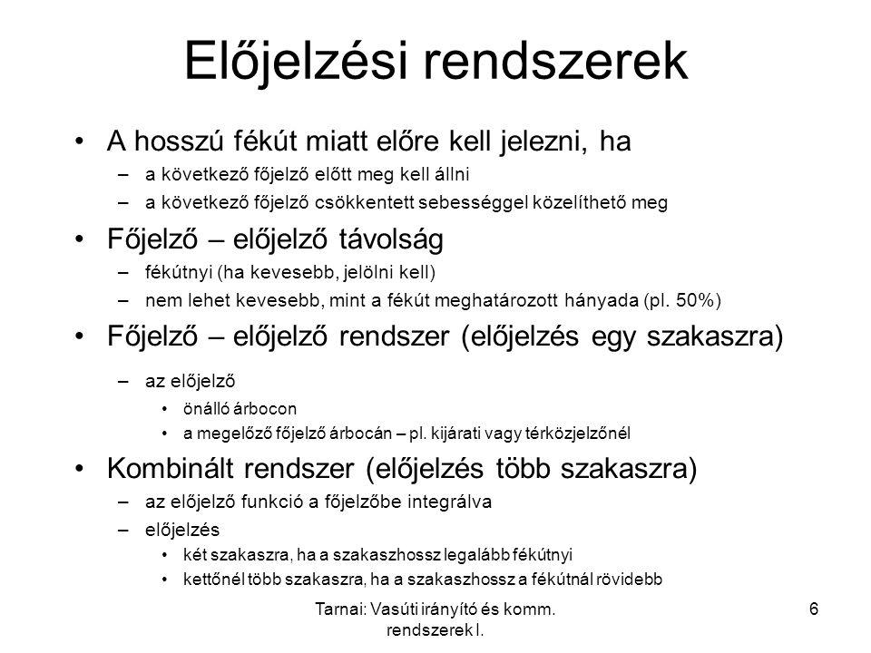 Tarnai: Vasúti irányító és komm. rendszerek I. 6 Előjelzési rendszerek A hosszú fékút miatt előre kell jelezni, ha –a következő főjelző előtt meg kell