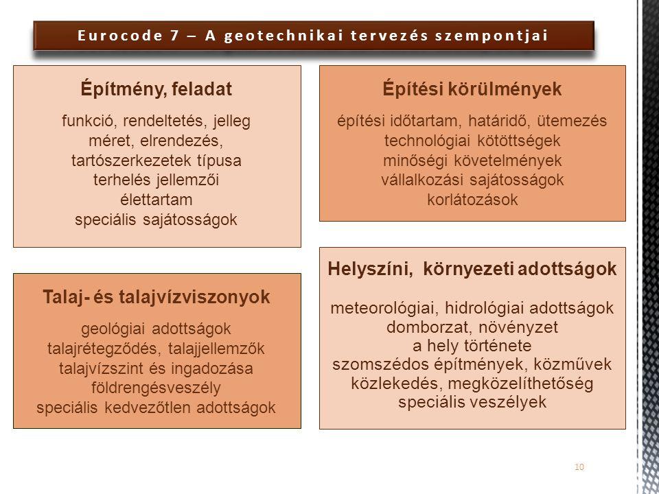 Eurocode 7 – A geotechnikai tervezés szempontjai 10 Építmény, feladat funkció, rendeltetés, jelleg méret, elrendezés, tartószerkezetek típusa terhelés
