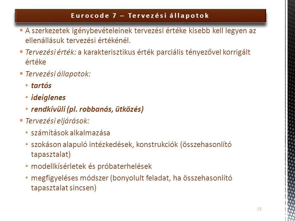 Eurocode 7 – Tervezési állapotok  A szerkezetek igénybevételeinek tervezési értéke kisebb kell legyen az ellenállásuk tervezési értékénél.  Tervezés