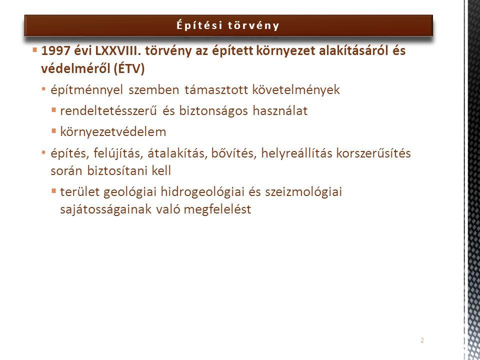 Építési törvény  1997 évi LXXVIII. törvény az épített környezet alakításáról és védelméről (ÉTV) építménnyel szemben támasztott követelmények  rende