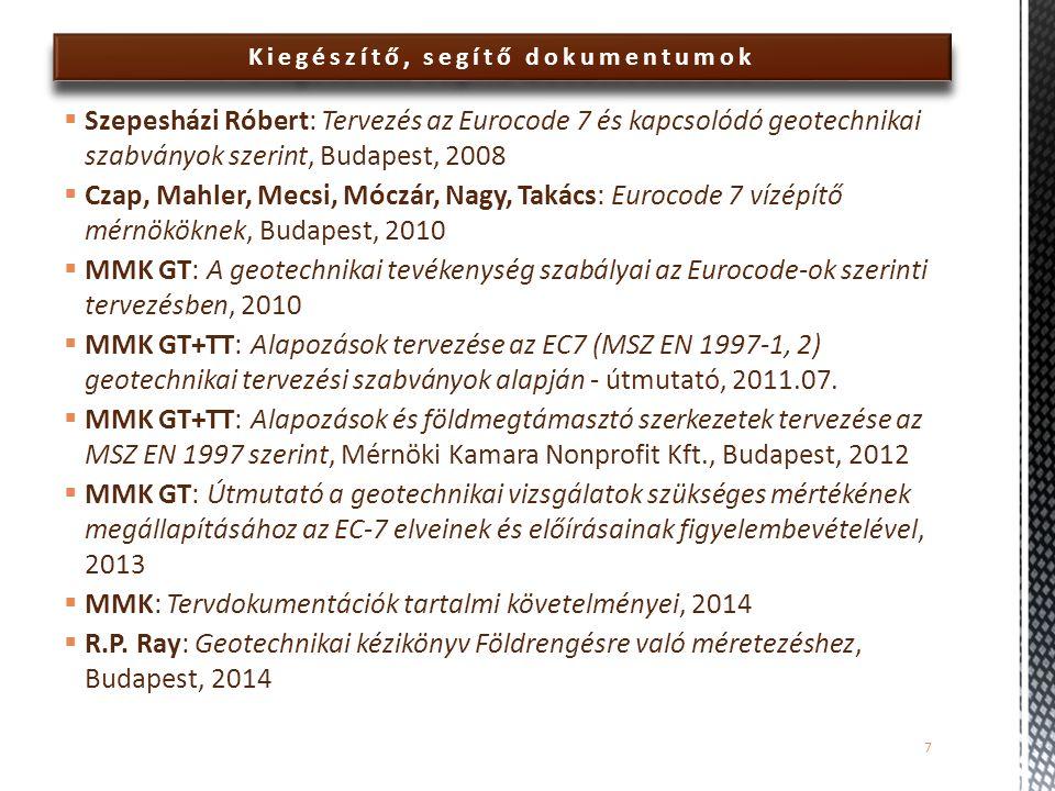 Kiegészítő, segítő dokumentumok  Szepesházi Róbert: Tervezés az Eurocode 7 és kapcsolódó geotechnikai szabványok szerint, Budapest, 2008  Czap, Mahl