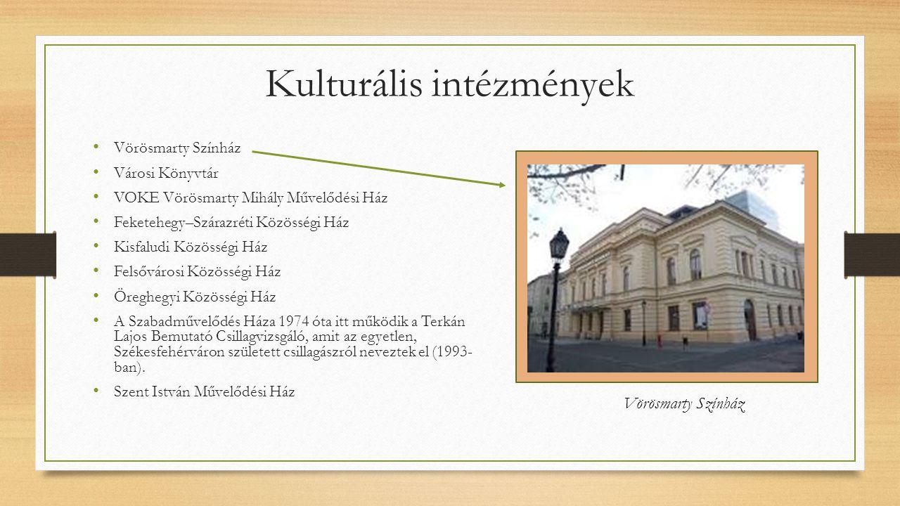 Kulturális intézmények Vörösmarty Színház Városi Könyvtár VOKE Vörösmarty Mihály Művelődési Ház Feketehegy–Szárazréti Közösségi Ház Kisfaludi Közösség