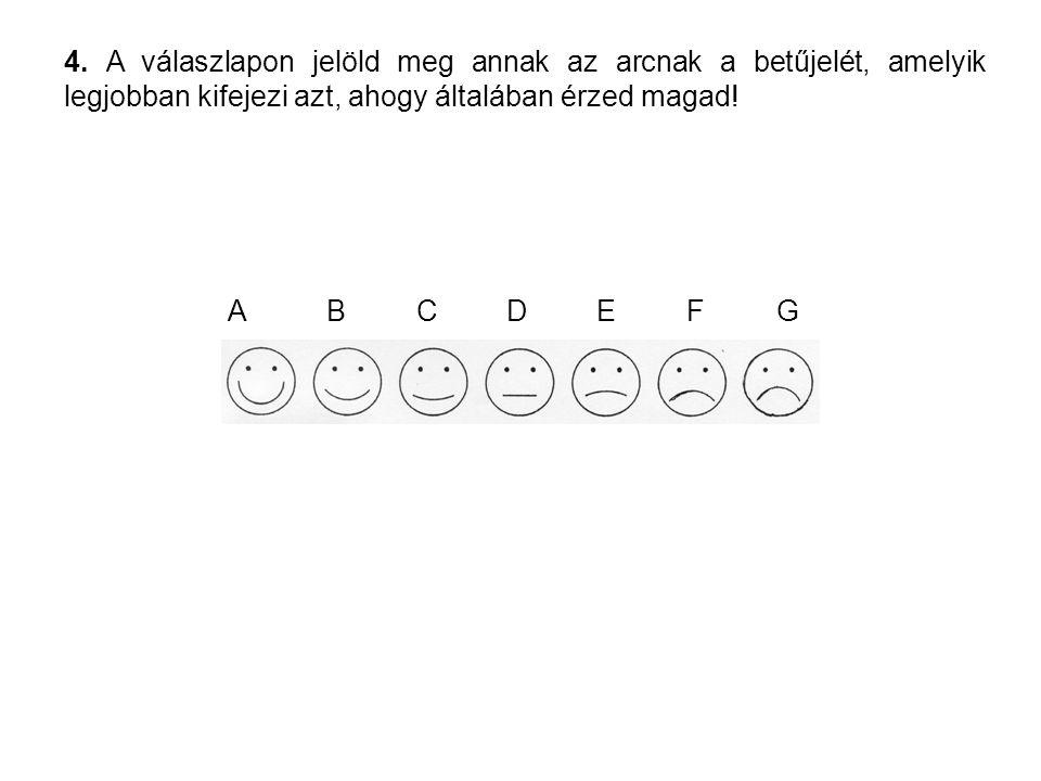 4. A válaszlapon jelöld meg annak az arcnak a betűjelét, amelyik legjobban kifejezi azt, ahogy általában érzed magad! ABCDEFG