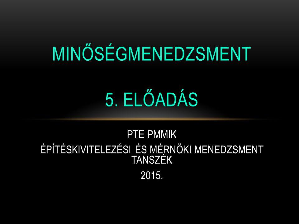 PTE PMMIK ÉPÍTÉSKIVITELEZÉSI ÉS MÉRNÖKI MENEDZSMENT TANSZÉK 2015. MINŐSÉGMENEDZSMENT 5. ELŐADÁS