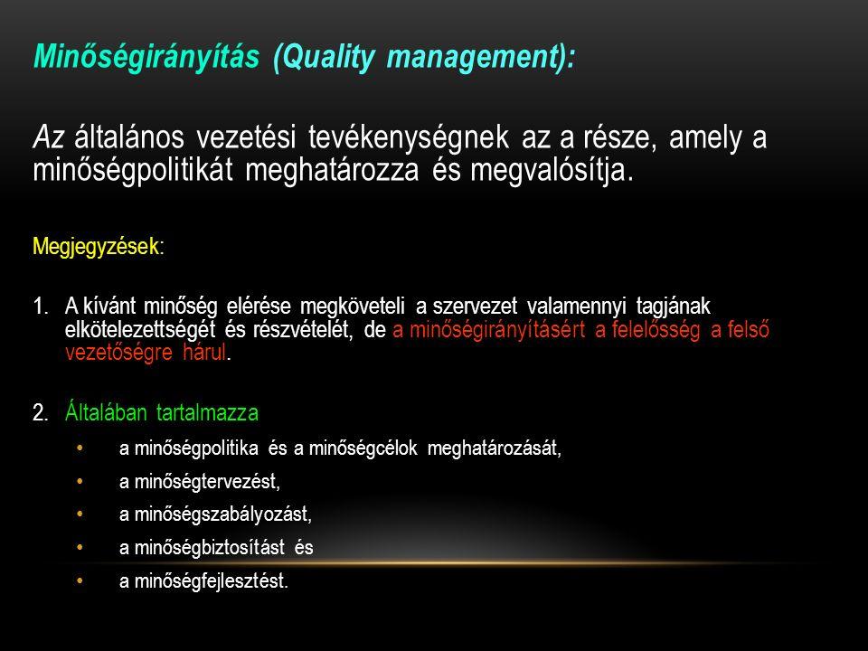 Minőségirányítás (Quality management): Az általános vezetési tevékenységnek az a része, amely a minőségpolitikát meghatározza és megvalósítja.