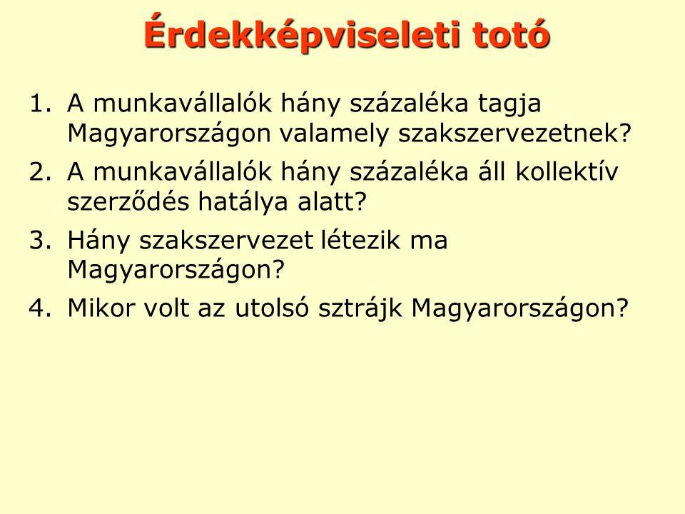 Érdekképviseleti totó 1.A munkavállalók hány százaléka tagja Magyarországon valamely szakszervezetnek? 2.A munkavállalók hány százaléka áll kollektív