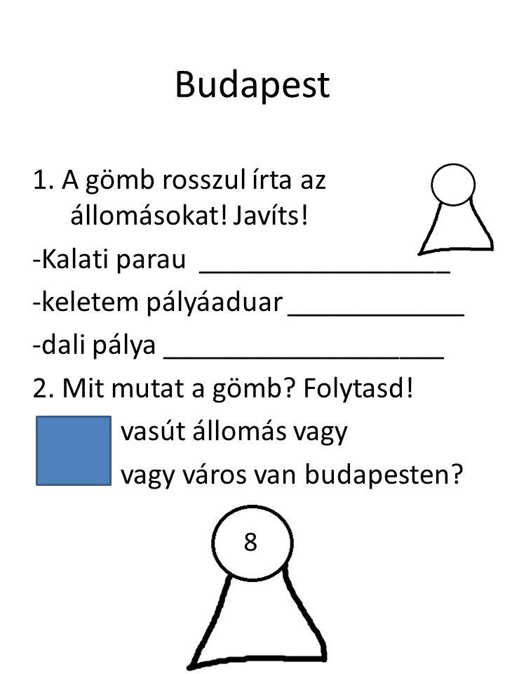Budapest 1.A gömb rosszul írta az állomásokat. Javíts.