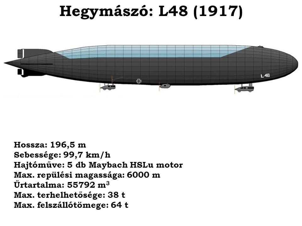 Hegymászó: L48 (1917) Hossza: 196,5 m Sebessége: 99,7 km/h Hajtóműve: 5 db Maybach HSLu motor Max. repülési magassága: 6000 m Űrtartalma: 55792 m 3 Ma