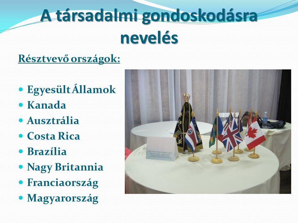 A társadalmi gondoskodásra nevelés Résztvevő országok: Egyesült Államok Kanada Ausztrália Costa Rica Brazília Nagy Britannia Franciaország Magyarország