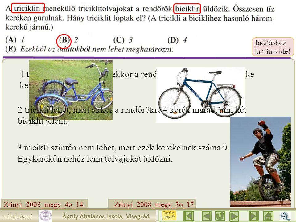 Zrínyi_2008_megy_3o_17. 1 tricikli nem lehet, mert ekkor a rendőrök biciklijeinek 7 kereke kell, hogy legyen. Mit látunk ? Az egyik szám 10. 2.a. akko