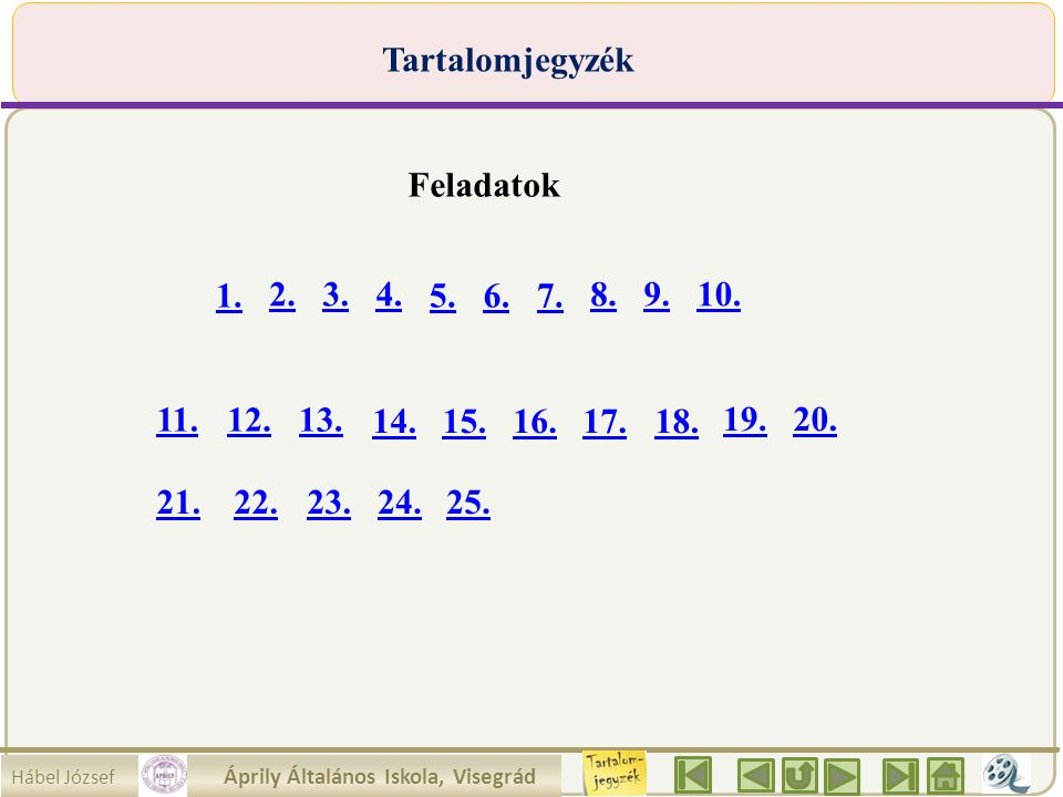 Hábel József Áprily Általános Iskola, Visegrád Tartalomjegyzék Feladatok 1. 2.3.4. 5.6.7. 8.9.10. 11.12.13. 14.15.16.17.18. 19.20. 21.22.23.24.25.