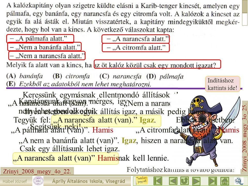 """Zrínyi_2008_megy_3o_25. """"A narancsfa alatt (van)."""" Hábel József Áprily Általános Iskola, Visegrád Indításhoz kattints ide! Kapitányunk nagyon mérges,"""