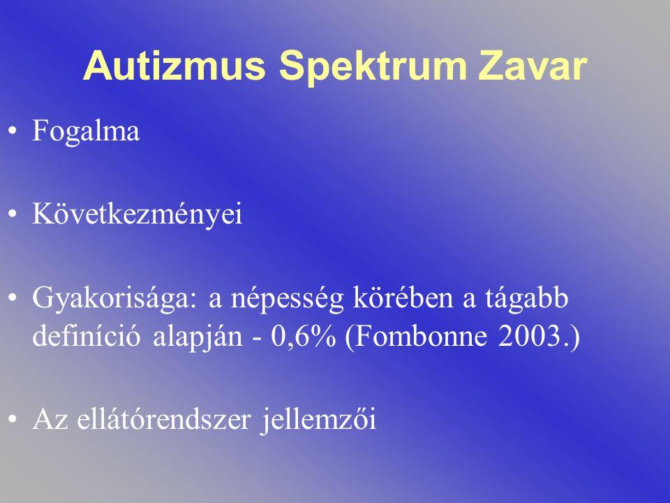 Autizmus Spektrum Zavar Fogalma Következményei Gyakorisága: a népesség körében a tágabb definíció alapján - 0,6% (Fombonne 2003.) Az ellátórendszer je