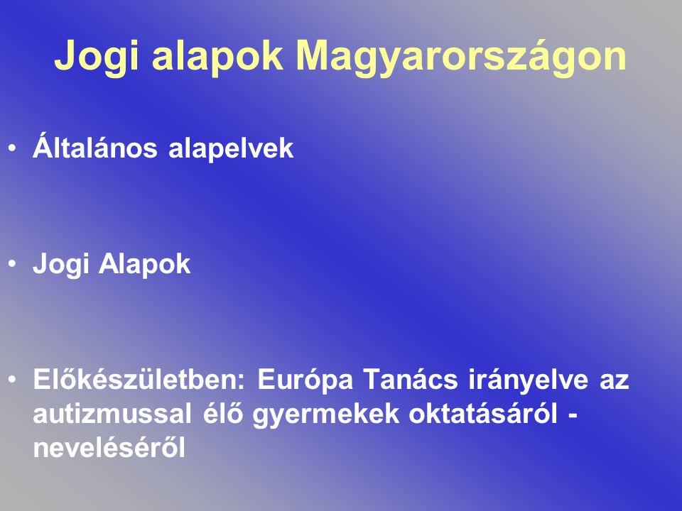 Jogi alapok Magyarországon Általános alapelvek Jogi Alapok Előkészületben: Európa Tanács irányelve az autizmussal élő gyermekek oktatásáról - nevelésé