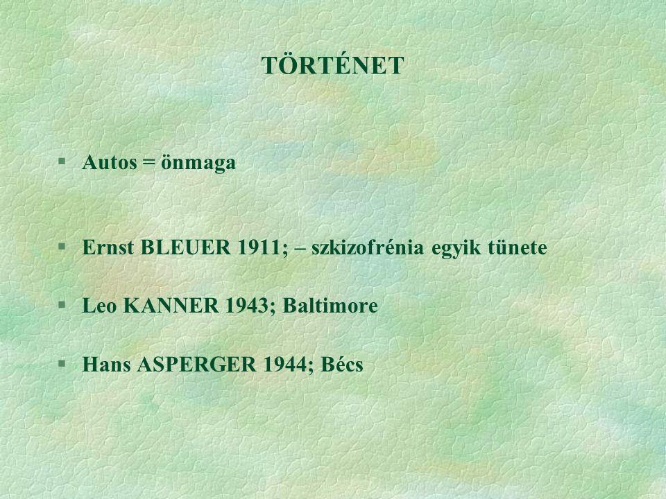 TÖRTÉNET §Autos = önmaga §Ernst BLEUER 1911; – szkizofrénia egyik tünete §Leo KANNER 1943; Baltimore §Hans ASPERGER 1944; Bécs