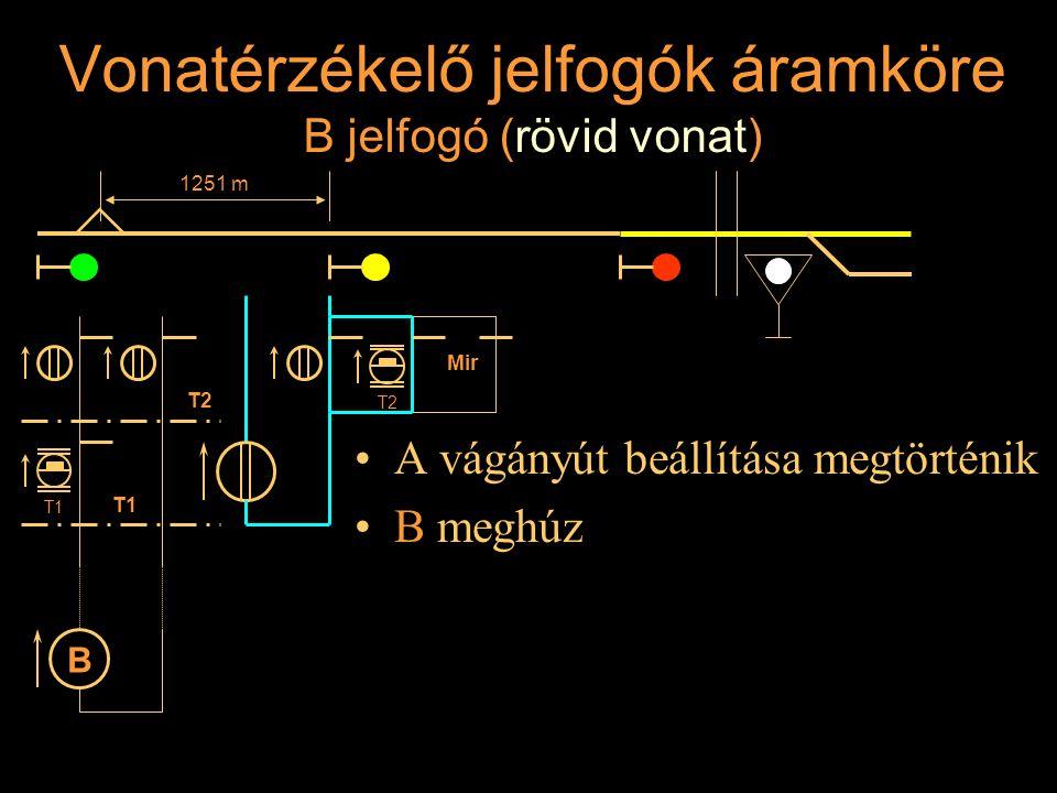 Vonatérzékelő jelfogók áramköre B jelfogó (rövid vonat) A vágányút beállítása megtörténik B meghúz Rétlaki Győző: Állomási sorompó 1251 m T2 T1 B T2 M
