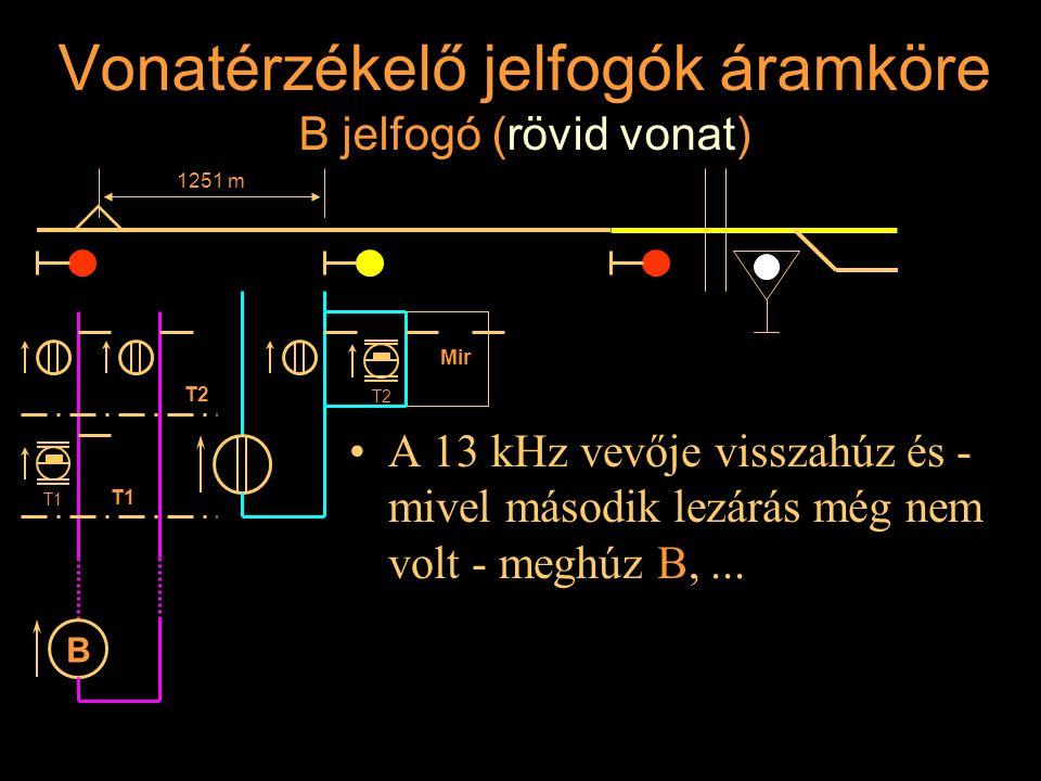 Vonatérzékelő jelfogók áramköre B jelfogó (rövid vonat) A 13 kHz vevője visszahúz és - mivel második lezárás még nem volt - meghúz B,... Rétlaki Győző