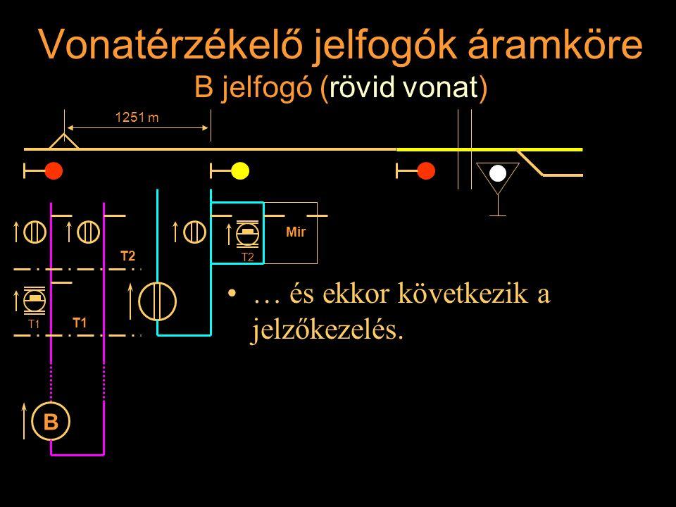 Vonatérzékelő jelfogók áramköre B jelfogó (rövid vonat) … és ekkor következik a jelzőkezelés. Rétlaki Győző: Állomási sorompó 1251 m T2 T1 B T2 Mir T1