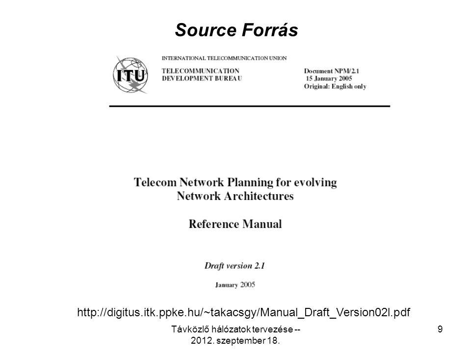 Távközlő hálózatok tervezése -- 2012. szeptember 18.