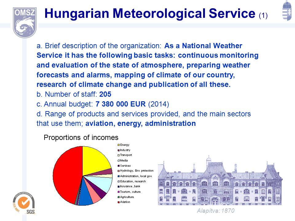 Alapítva: 1870 ORSZÁGOS METEOROLÓGIAI SZOLGÁLAT Hungarian Meteorological Service (1) a.