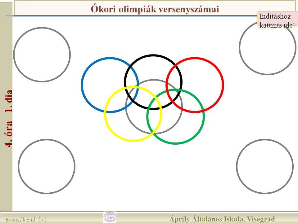 Ókori olimpiák versenyszámai Indításhoz kattints ide! 4. óra 1. dia Bosnyák Endréné Áprily Általános Iskola, Visegrád