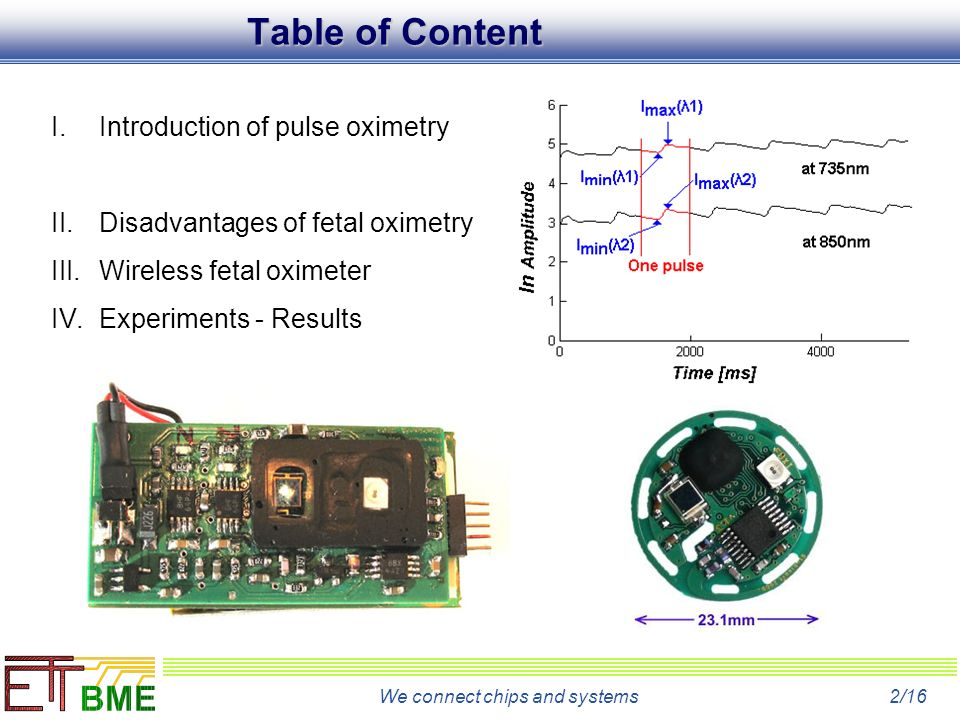 We connect chips and systems2/16 I.Introduction of pulse oximetry II.Disadvantages of fetal oximetry III.Wireless fetal oximeter IV.Experiments - Results Table of Content
