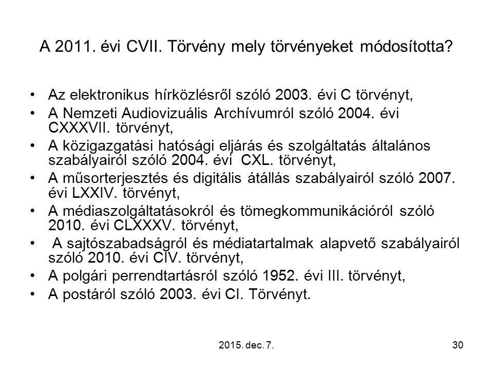 A 2011. évi CVII. Törvény mely törvényeket módosította.