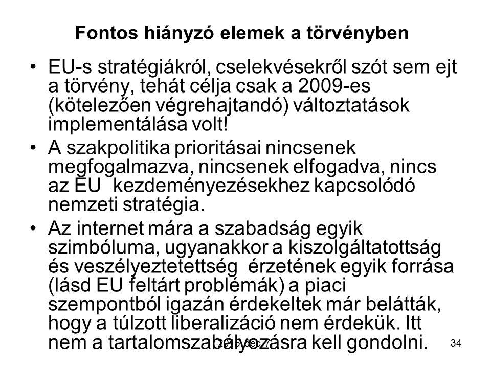 Fontos hiányzó elemek a törvényben EU-s stratégiákról, cselekvésekről szót sem ejt a törvény, tehát célja csak a 2009-es (kötelezően végrehajtandó) változtatások implementálása volt.