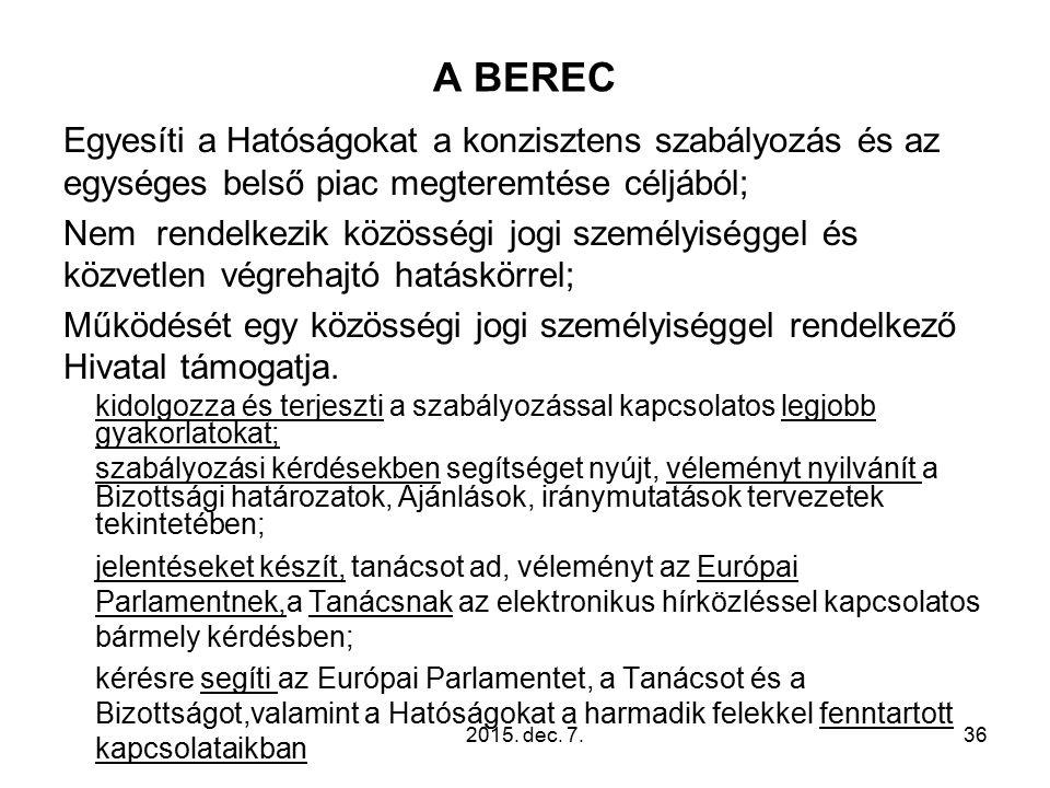 A BEREC Egyesíti a Hatóságokat a konzisztens szabályozás és az egységes belső piac megteremtése céljából; Nem rendelkezik közösségi jogi személyiséggel és közvetlen végrehajtó hatáskörrel; Működését egy közösségi jogi személyiséggel rendelkező Hivatal támogatja.