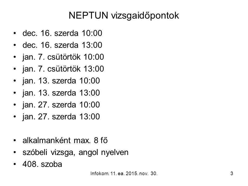 NEPTUN vizsgaidőpontok dec. 16. szerda 10:00 dec.
